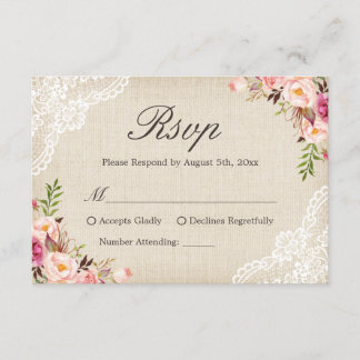 Rustic Country Floral Lace Ivory Burlap RSVP Reply