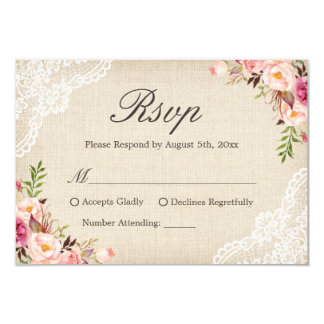 Rustic Country Floral Lace Ivory Burlap RSVP Reply Card