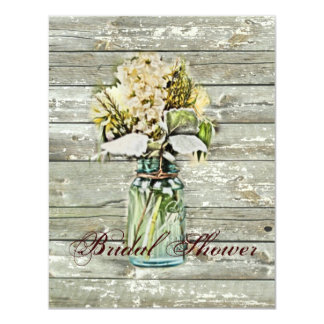 rustic country floral mason jar bridal shower card