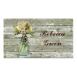 rustic country floral mason jar wedding business cards