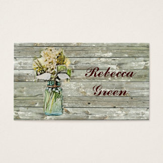 rustic country floral mason jar wedding business card