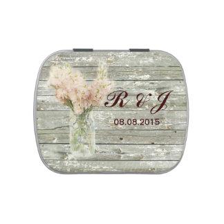rustic country floral mason jar wedding candy tins