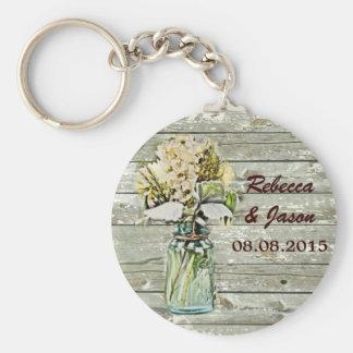 rustic country floral mason jar wedding thank you basic round button keychain