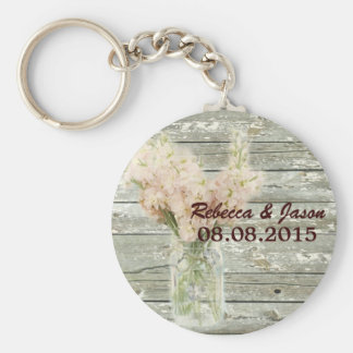 rustic country floral mason jar wedding thank you basic round button keychain