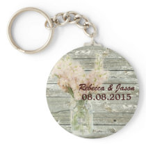 rustic country floral mason jar wedding thank you keychain