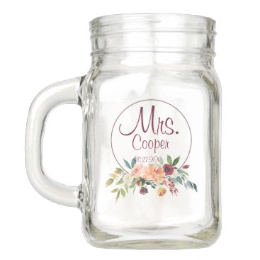 Beach Themed Rustic Country Floral Personalized Mason Jar