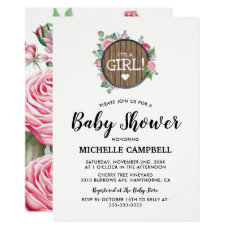 Rustic Country Floral Pink Girl Baby Shower Invitation Card