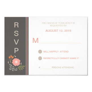 Rustic Country Floral RSVP 3.5x5 Paper Invitation Card
