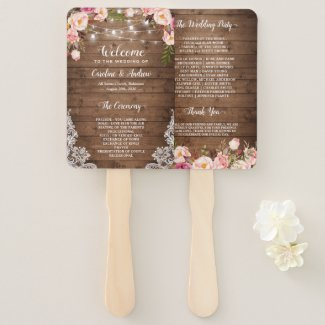 Rustic Wedding Program Hand Fan, Country Floral String Light