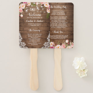 Rustic Country Floral String Light Wedding Program Hand Fan