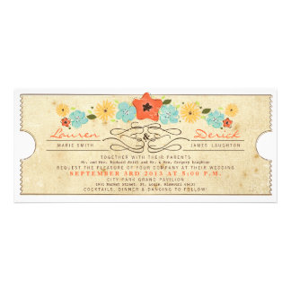 Rustic Country Floral Ticket Tea Length Invitation