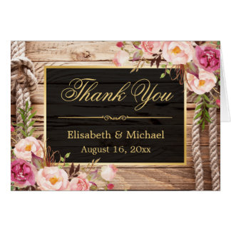 Rustic Country Floral Wood Gold Frame Thank You Card