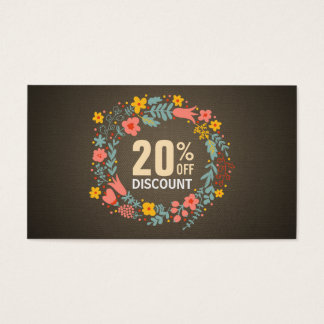 Rustic Country Floral Wreath Discount Coupon Business Card