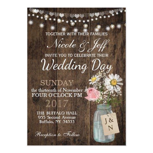 Rustic Country Flower Mason Jar Barn Wedding Invitation