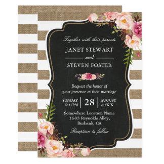 Rustic Country Flowers Burlap Stripes Chic Wedding Invitation
