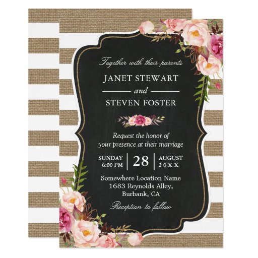 Rustic Country Flowers Burlap Stripes Chic Wedding Invitation