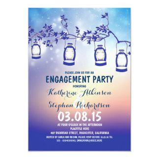 rustic country garden lights engagement party card