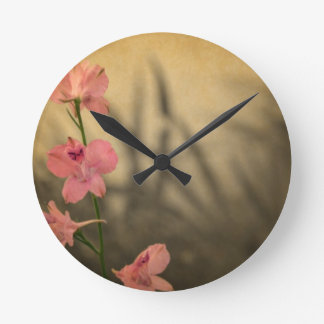 rustic country garden pink flowers wildflower round clock