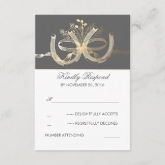 Rustic Country Gilded Horseshoes Wedding RSVP