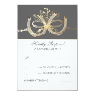 Rustic Country Gilded Horseshoes Wedding RSVP Card