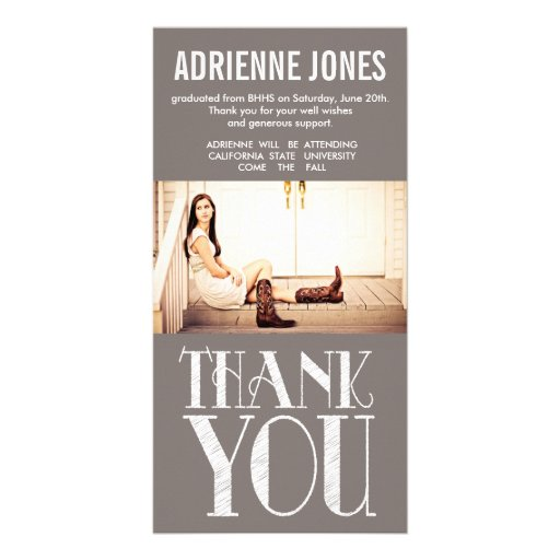 Rustic Country Graduation Thank You Photo Picture Card