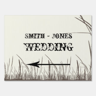 Rustic Country Grasslands Wedding Direction Sign