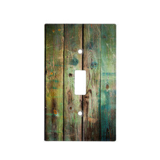 Rustic Country Green and Yellow Distressed Wood Light Switch Cover