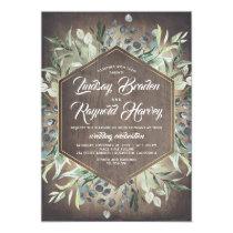 Rustic Country Greenery Foliage Barn Wedding Invitation