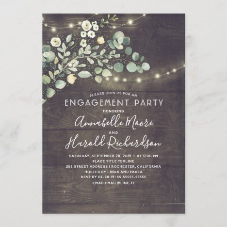 Rustic Country Greenery Garden Engagement Party Invitation