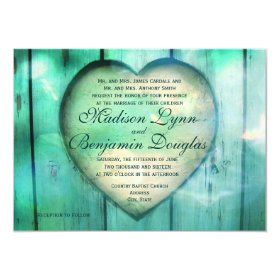 Rustic Country Heart Aqua Wood Wedding Invitations