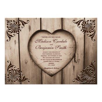 Rustic Country Heart Barn Wood Wedding Invitations Custom Invites