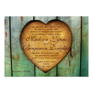 Rustic Country Heart Barn Wood Wedding Invitations Personalized Invite
