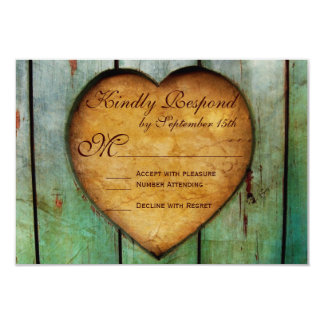 Rustic Country Heart Barn Wood Wedding RSVP Cards