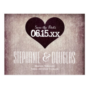 Rustic Country Heart Save the Date Postcards Postcard