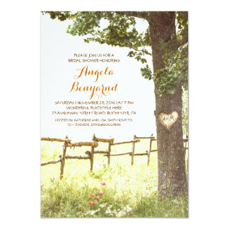 rustic country heart tree bridal shower invites
