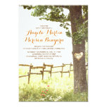 rustic country heart tree wedding invitation custom announcement