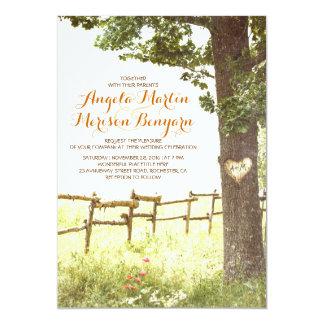 rustic country heart tree wedding invitation