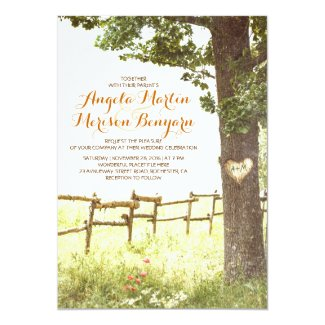Simple Rustic Wedding Invitation With Oak Tree And Carved Heart