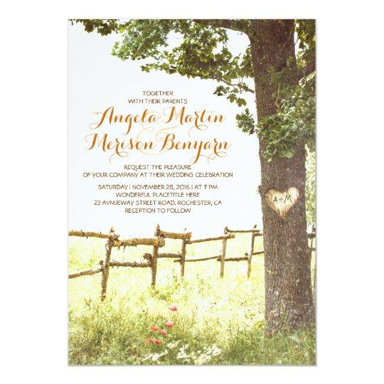 rustic country heart tree wedding invitation Zazzlecom
