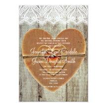 "Rustic Country Hearts Barn Wood Wedding Invitation 5"" X 7"" Invitation Card"