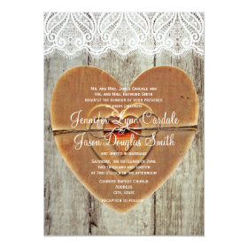 Rustic Country Hearts Barn Wood Wedding Invitation