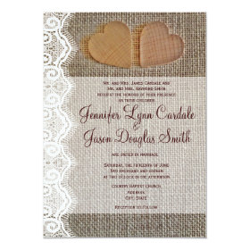 Rustic Country Hearts Burlap Lace Wedding Invites