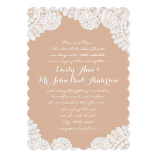 Rustic Country Heirloom Lace Wedding Invitations