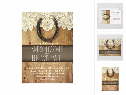 Rustic Country Horseshoe and Lace Wedding Invites