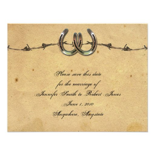 Rustic Country Horseshoe Barbed Save the Date Custom Invitations