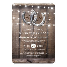 Rustic Country Horseshoe Barn Lights Wedding Invitations