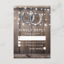 Rustic Country Horseshoe Barn Lights Wedding RSVP