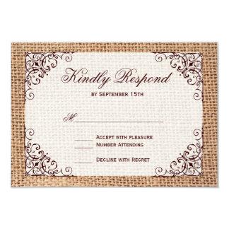 Rustic Country Horseshoe Burlap Wedding RSVP Cards