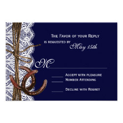 Rustic Country Horseshoe Navy Wedding RSVP Cards