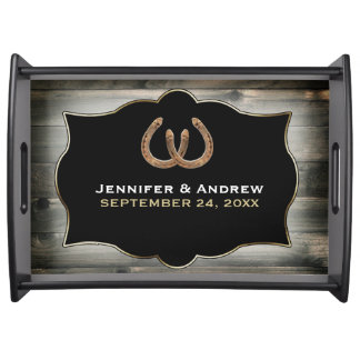 Rustic Country Horseshoe Personalized Serving Tray